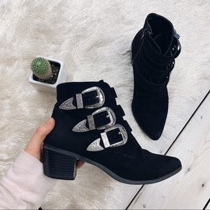 Forever 21 | Western Faux Suede Triple Buckle Boot